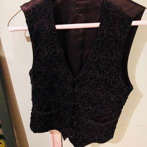 Kenar Studio beaded black vest size S